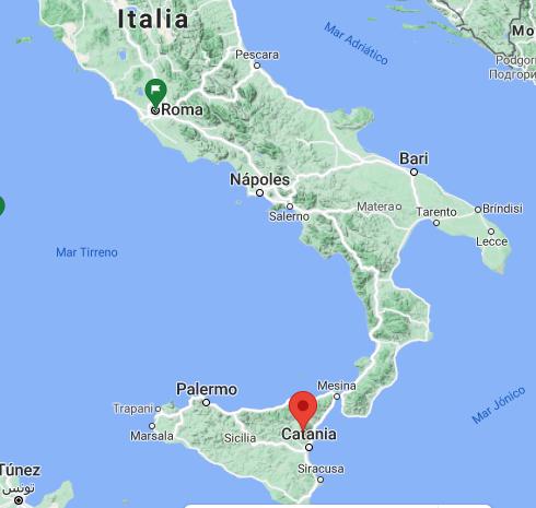 Situación exacta del volcán Etna